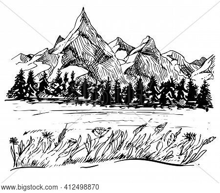 Mountains Sketch. Hand Drawn Vector Illustration. Mountain Travel, Highlands Range. Dot And Line Art