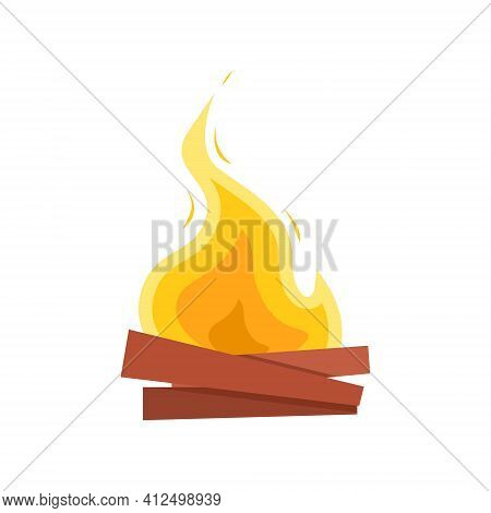 Burning Campfire Or Bonfire On Wooden Logs Isolated On White Background. Design Element Of Flame On