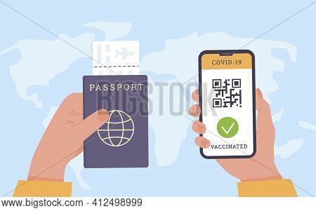 Travelling During Coronavirus. Top View Of Person Holding A Phone. An App With Qr Code As Proof Of C