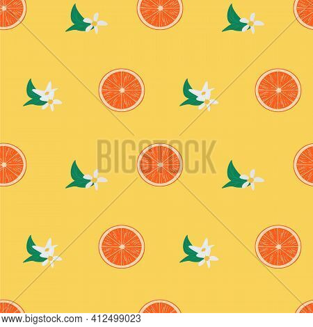 Bright Colorful Seamless Pattern With Orange Fruit Slices And Blooming Flowers. Juicy Tropical Summe