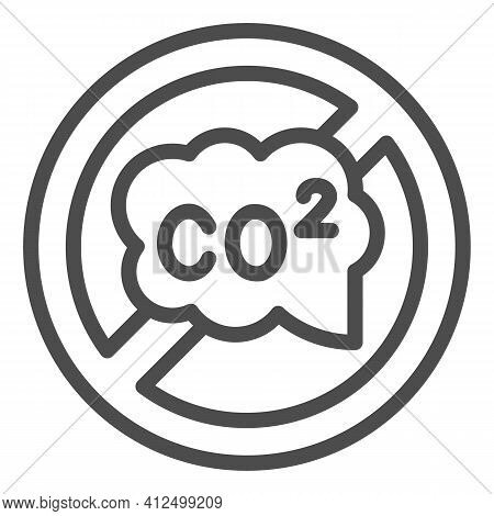 Banned Co2 Sign Line Icon, Electric Car Concept, Carbon Dioxide Caution Sign On White Background, No