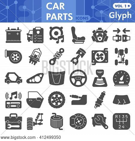 Car Parts Solid Icon Set, Repair And Service Symbols Collection Or Sketches. Auto Mechanical Parts G