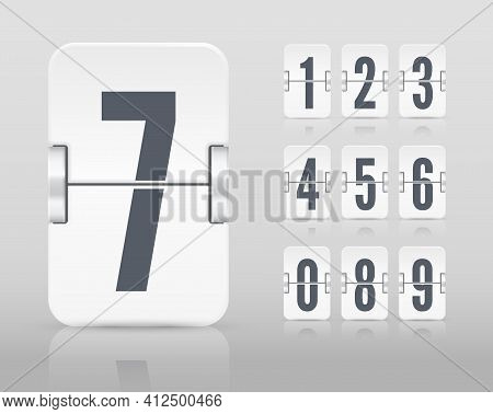 Vector White Flip Scoreboard Template With Numbers And Reflections For White Countdown Timer Or Cale