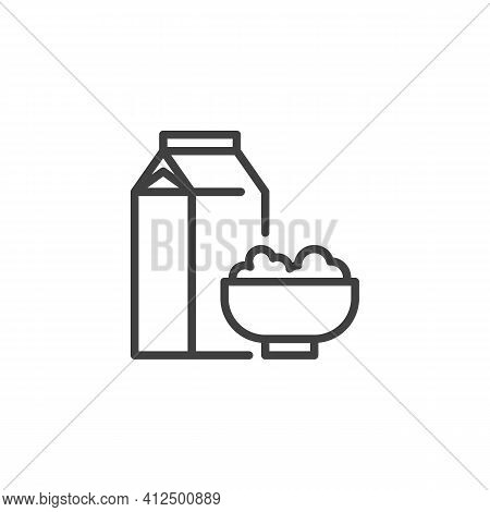 Cereal Milk Breakfast Line Icon. Linear Style Sign For Mobile Concept And Web Design. Milk Pack And