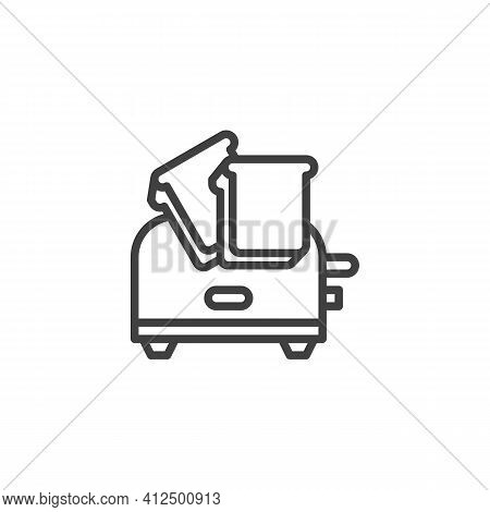 Toaster And Toasts Line Icon. Linear Style Sign For Mobile Concept And Web Design. Toaster With Brea