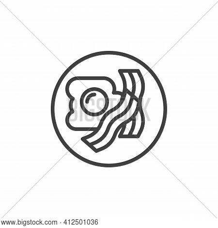 Breakfast With Fried Egg And Bacon Line Icon. Linear Style Sign For Mobile Concept And Web Design. E
