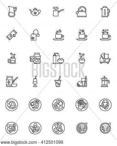 Breakfast Menu Line Icons Set. Linear Style Symbols Collection, Outline Signs Pack. Breakfast Food V
