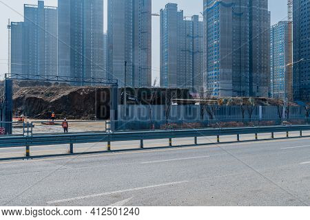 Daejeon, South Korea; March 8, 2021: View Of Construction Site Of New Highrise Apartments In Sintanj