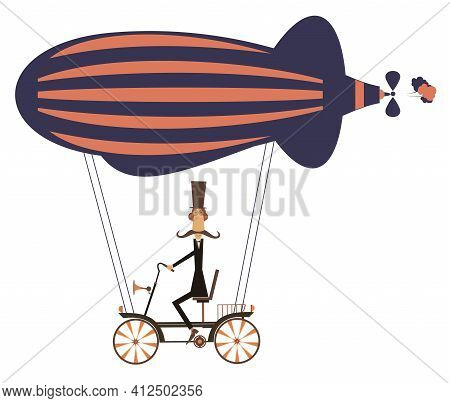 Funny Mustache Man On The Airship Illustration  Cartoon Mustache Man Flies On The Airship Isolated O