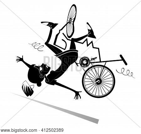 Cyclist Woman Falling Down From The Broken Bicycle Black On White Illustration