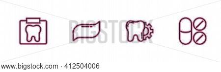 Set Line X-ray Of Tooth, Tooth Treatment Procedure, Toothpaste And Painkiller Tablet Icon. Vector