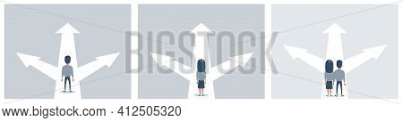 Business Decision Concept Vector Illustration. Businessman Standing On The Crossroads With Three Arr