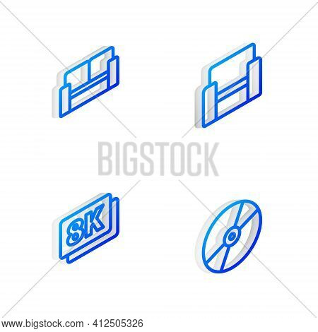 Set Isometric Line Cinema Chair, , 8k Ultra Hd And Cd Or Dvd Disk Icon. Vector