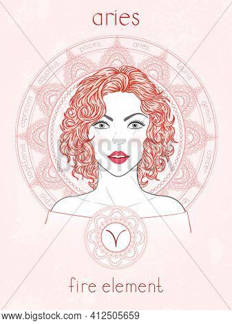 Vector Illustration Of Aries Zodiac Sign, Portrait Beautiful Girl And Horoscope Circle. Fire Element
