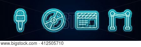 Set Line Microphone, Cd Or Dvd Disk, Movie Clapper And Rope Barrier. Glowing Neon Icon. Vector