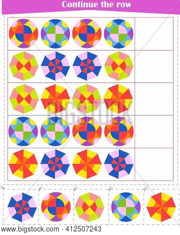 Logic Game For Children. We Continue A Series Of Patterns. Worksheet. Vector Illustration