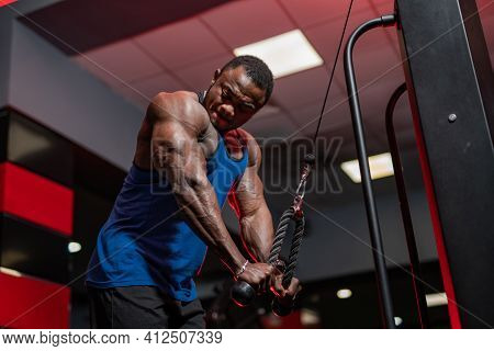 African American Athlete Doing Workout For Hands On Special Sport Equipment. View From Below On Afri