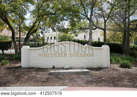 March 12, 2021 - Whittier, California: Whittier College. Whittier College Location Placard. A large cement placard with the words Whittier College at one corner of the school.  Editorial Use Only.