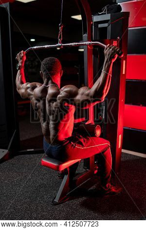 Experienced And Well Trained Sportsman Doing Workout For Back And Arms. View From The Back On Traine