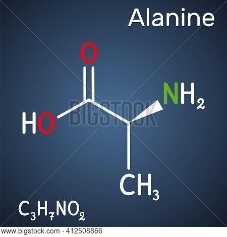 Alanine, L-alanine, Ala, A Molecule. It Is Non-essential Amino Acid. Structural Chemical Formula On