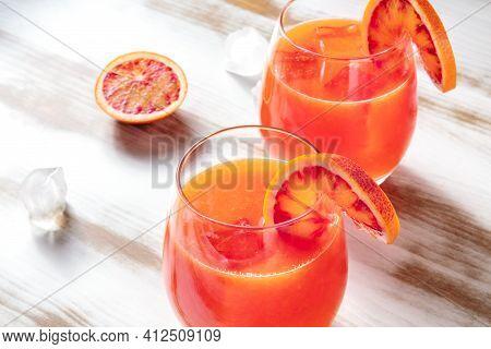 Orange Cocktail Close-up, Decorated With Blood Orange Slices