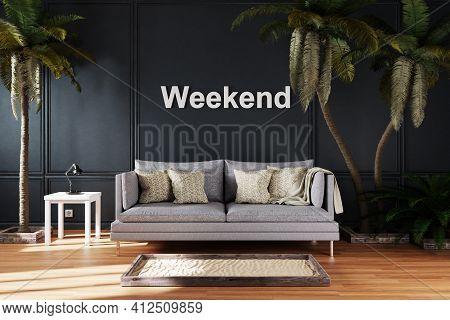 Elegant Living Room Interior With Vintage Sofa Between Large Palm Trees; Weekend Lettering; 3d Illus
