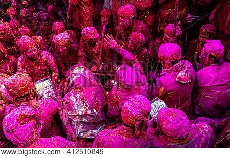 March 2021 Mathura,india. People Of Barsana Village In Uttar Pradesh Doing Their Rituals On Holi Fes