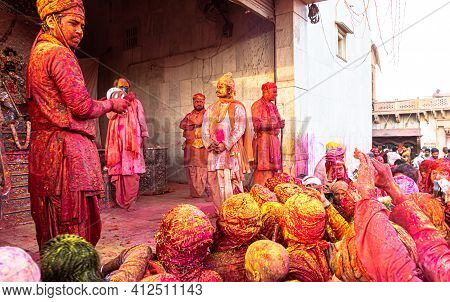 March 2021 Mathura,india. People Playing With Colors On Holi Festival At Barsana Village In Uttar Pr