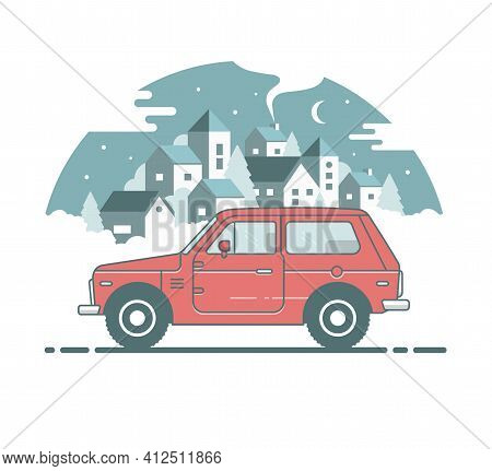 Vintage Rural Colour Suv 4x4. Car Side View. Flat Cartoon Isolated Illustration. City View Backgroun