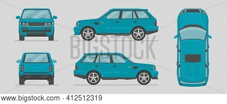 Vector Suv. Blue Car From Different Sides. Side View, Front View, Back View, Top View. Cartoon Car I