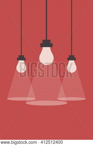 Illustration Of Lighting From Light Bulbs. Light Bulbs Illuminate The Red Background. Three Light Bu