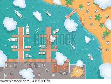 Illustration Of A Pier In Flat Style. Top View. Island In The Middle Of The Ocean. Yachts, Boats, Se