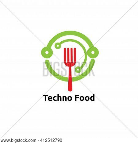 Circle Techno Food Logo Vector Concept, Icon, Element, And Template For Company