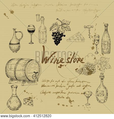 Set Wine Products Hand Drawn Scetch. Grapes, Wooden Barrel, Bottles, Chees, Glass, Corkscrew Vintage