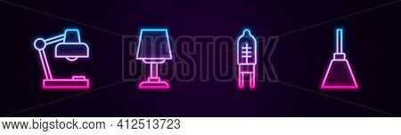 Set Line Table Lamp, , Light Emitting Diode And Chandelier. Glowing Neon Icon. Vector
