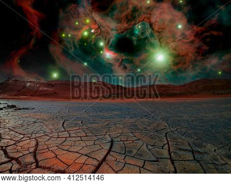 scientifically fantastic landscape of an alien planet with cracked soil and galactic nebula in the sky