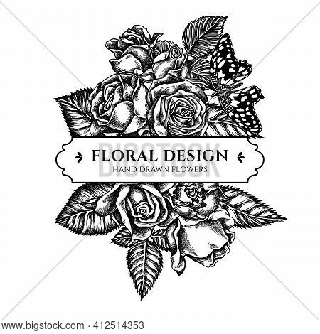 Floral Bouquet Design With Black And White Lemon Butterfly, Roses Stock Illustration