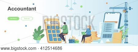 Accountant Landing Page With People Characters. Budget Analysis, Financial Calculation Web Banner. B