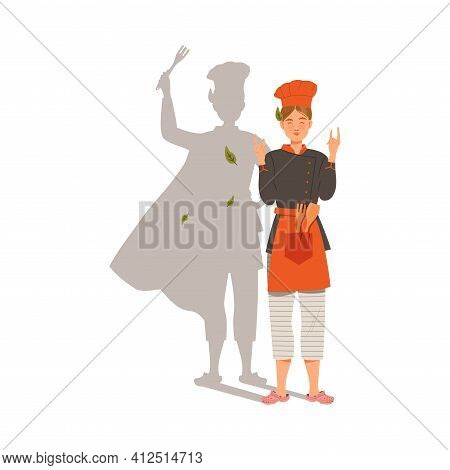 Young Woman As Chef Master And Super Cook Wearing Toque And Apron Gesturing Vector Illustration