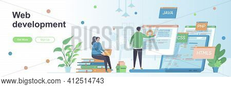 Web Development Landing Page With People Characters. Software Engineering Web Banner. Full Stack Web