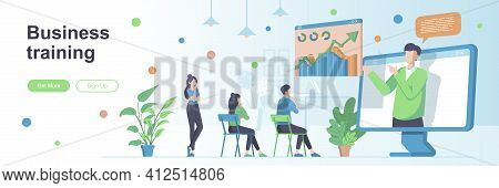 Business Training Landing Page With People Characters. Online Webinar With Business Coach Banner. Pr