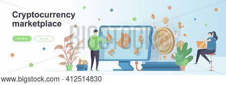Cryptocurrency Marketplace Landing Page With People. Blockchain Technology Web Banner. Cryptocurrenc