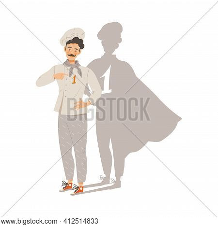 Moustached Man Character As Super Chef And Top-ranked Gastronomy Master Vector Illustration