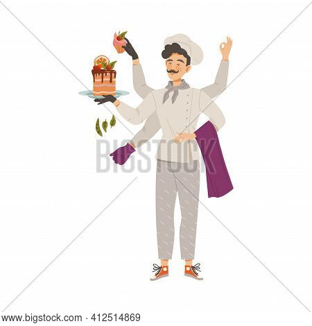 Moustached Man As Super Chef In Toque And Jacket Multitasking Vector Illustration