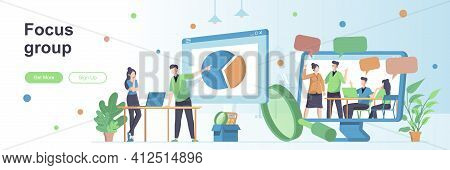 Focus Group Landing Page With People Characters. Collective Discussion And Feedbacks Web Banner. Mar