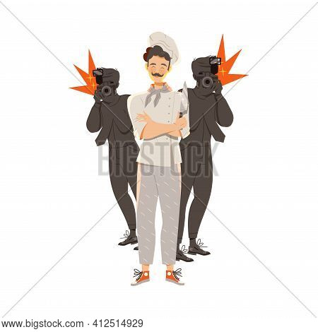 Moustached Man As Super Chef In Toque And Jacket Posing With Knife Vector Illustration