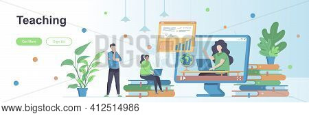Teaching Landing Page With People Characters. Personal Teacher Service Web Banner. Educational Webin