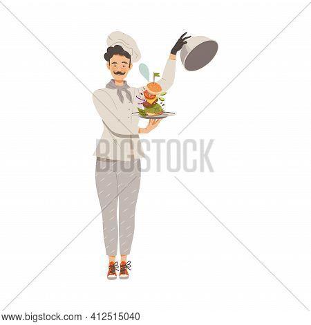 Moustached Man As Super Chef In Toque And Jacket Holding Dome With Served Hamburger Vector Illustrat