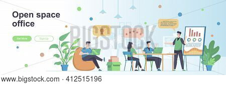 Open Space Office Landing Page With People Characters. Business Team Collaboration Space Web Banner.