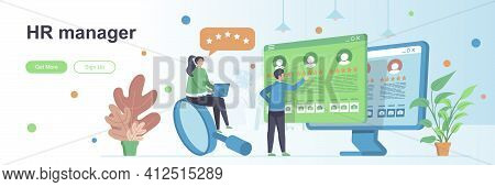 Hr Manager Landing Page With People Characters. Staff Recruitment And Employment Web Banner. Human R